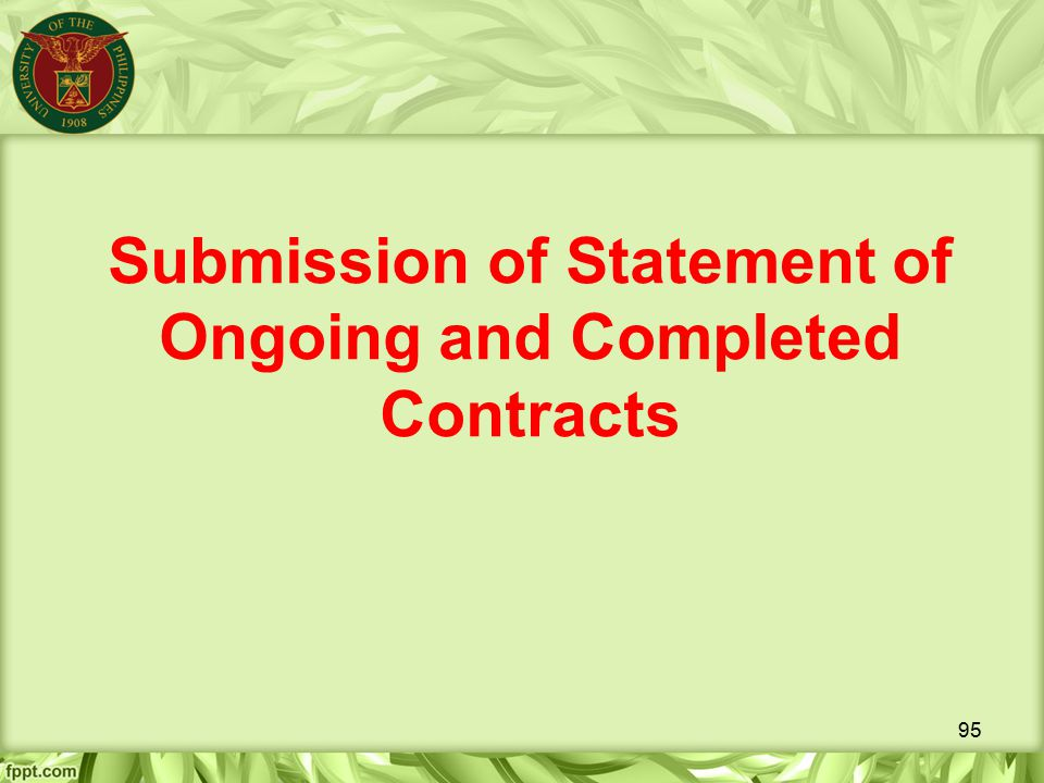 Submission of Statement of Ongoing and Completed Contracts