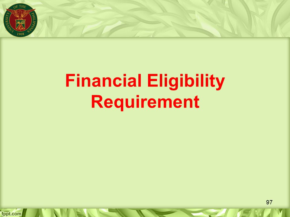 Financial Eligibility Requirement