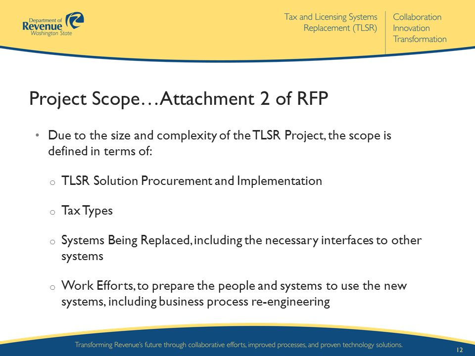 Project Scope…Attachment 2 of RFP