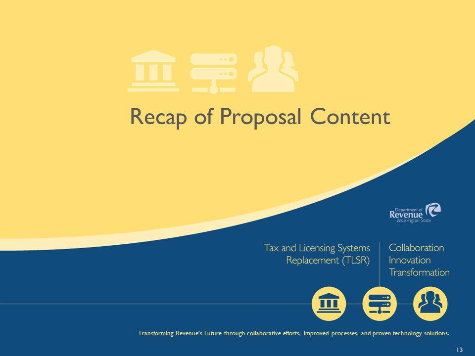 Recap of Proposal Content