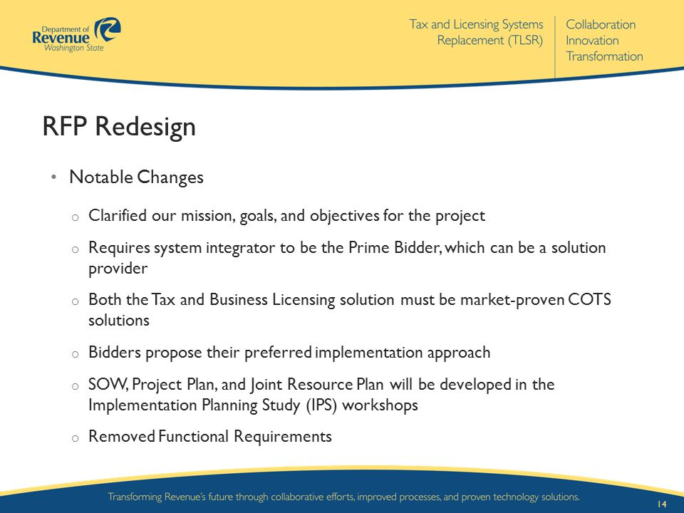 RFP Redesign Notable Changes