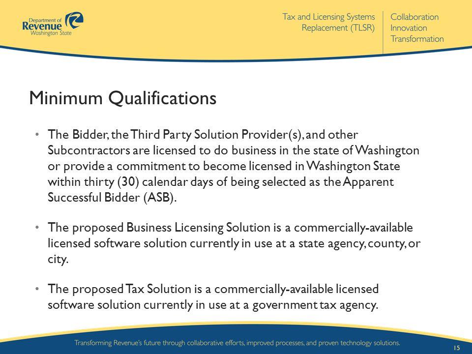 Minimum Qualifications