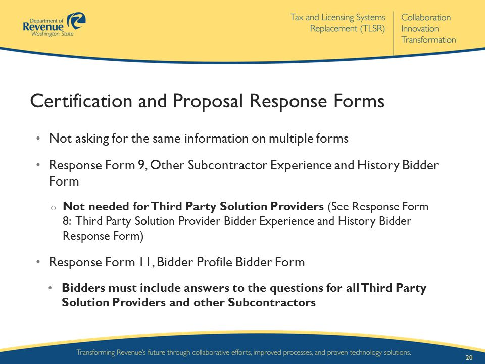 Certification and Proposal Response Forms