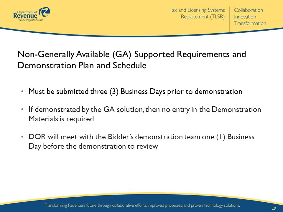 Non-Generally Available (GA) Supported Requirements and Demonstration Plan and Schedule