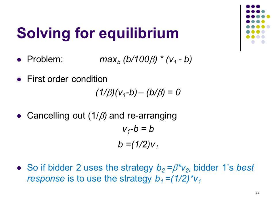 Solving for equilibrium