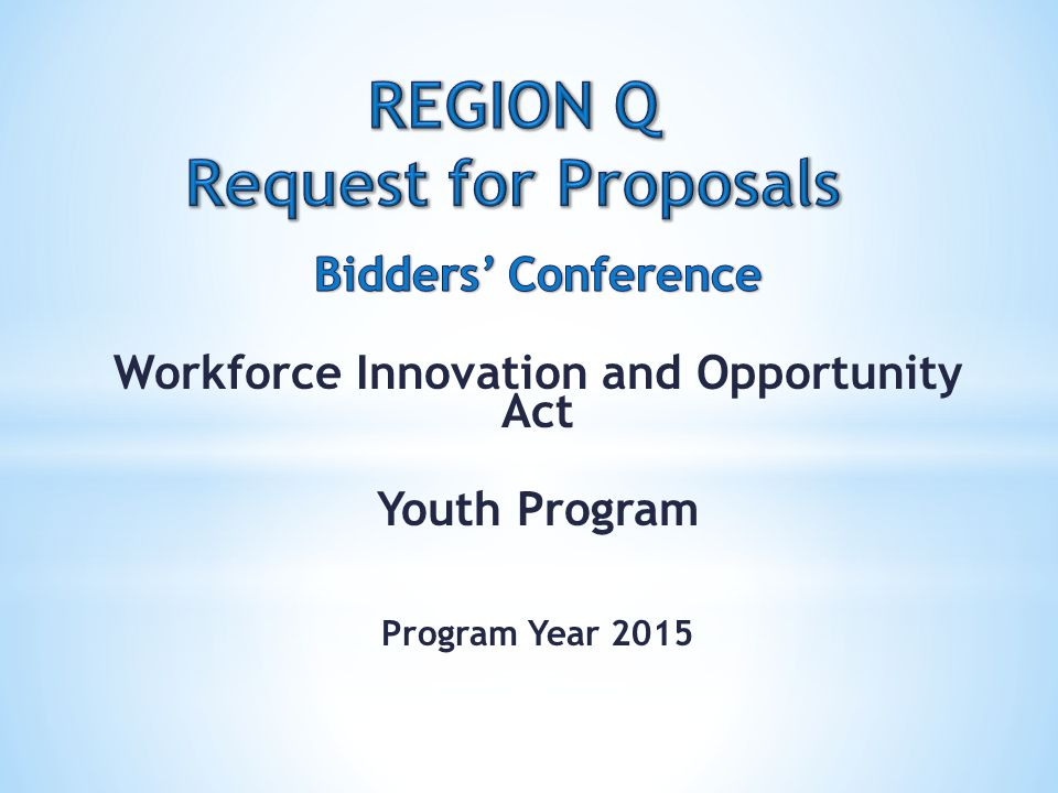 REGION Q Request for Proposals