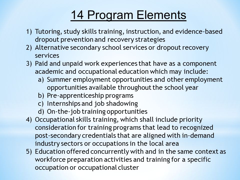 14 Program Elements Tutoring, study skills training, instruction, and evidence-based dropout prevention and recovery strategies.