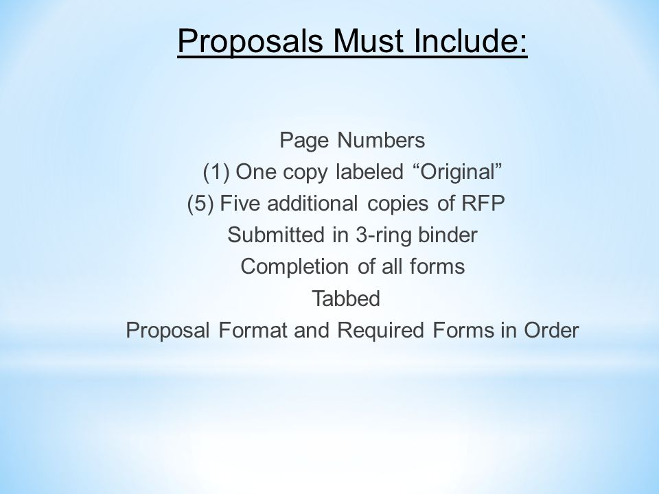 Proposals Must Include:
