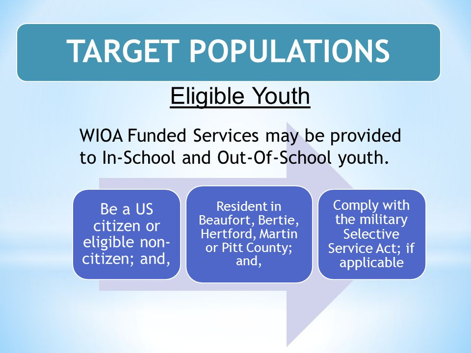 TARGET POPULATIONS Eligible Youth