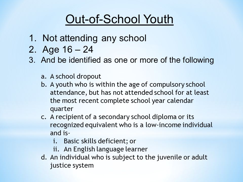 Out-of-School Youth Not attending any school Age 16 – 24