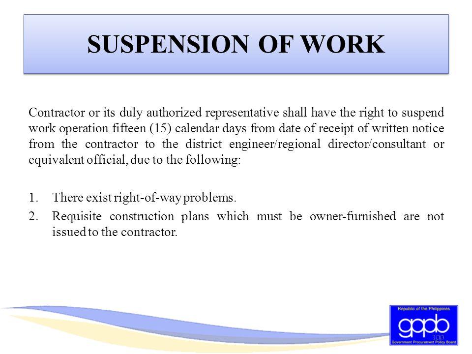 SUSPENSION OF WORK