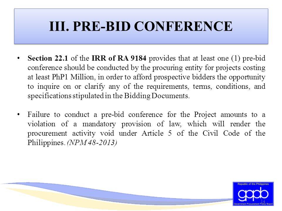 III. PRE-BID CONFERENCE