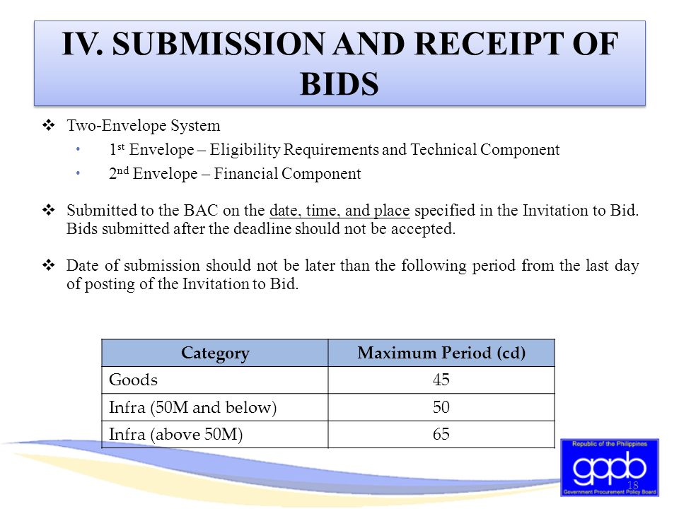 IV. SUBMISSION AND RECEIPT OF BIDS