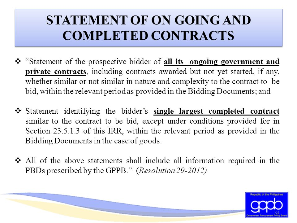STATEMENT OF ON GOING AND COMPLETED CONTRACTS