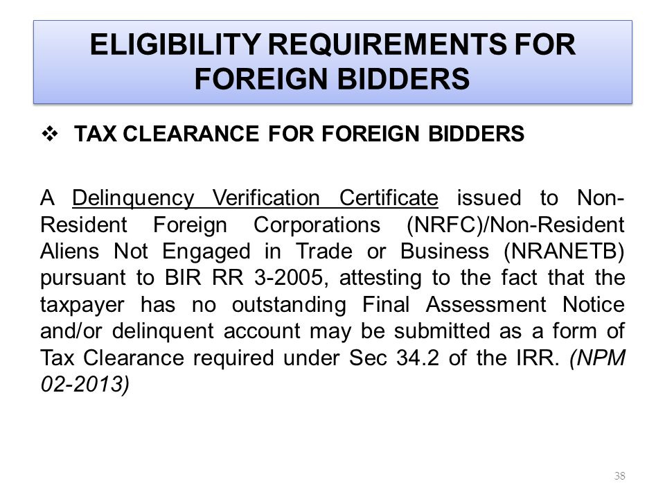 ELIGIBILITY REQUIREMENTS FOR FOREIGN BIDDERS