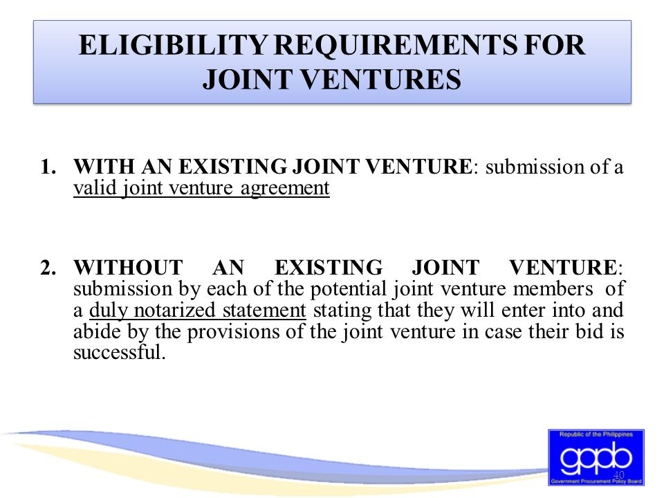 ELIGIBILITY REQUIREMENTS FOR JOINT VENTURES