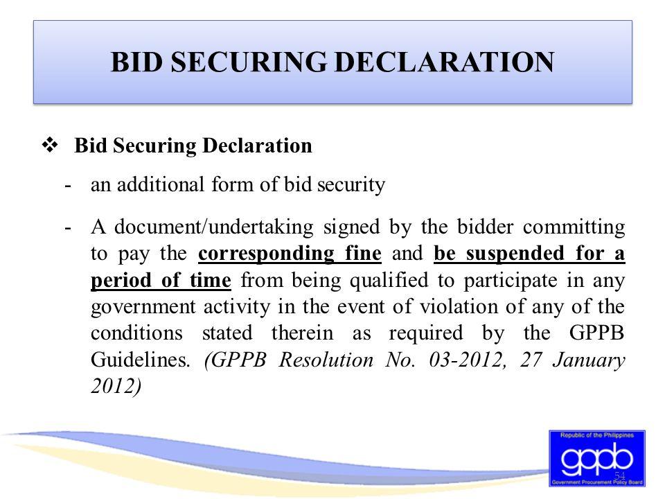 BID SECURING DECLARATION