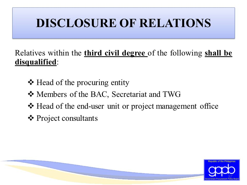 DISCLOSURE OF RELATIONS