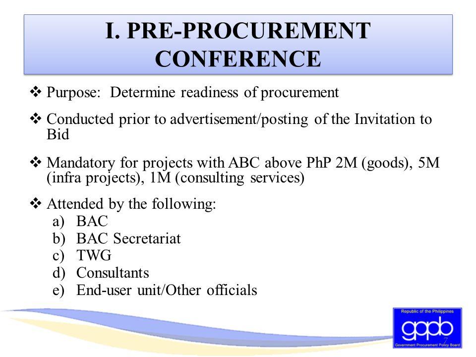 I. PRE-PROCUREMENT CONFERENCE