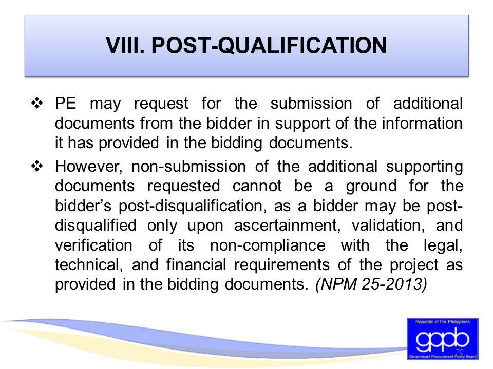 VIII. POST-QUALIFICATION
