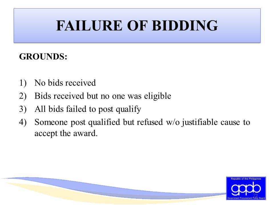 FAILURE OF BIDDING GROUNDS: No bids received