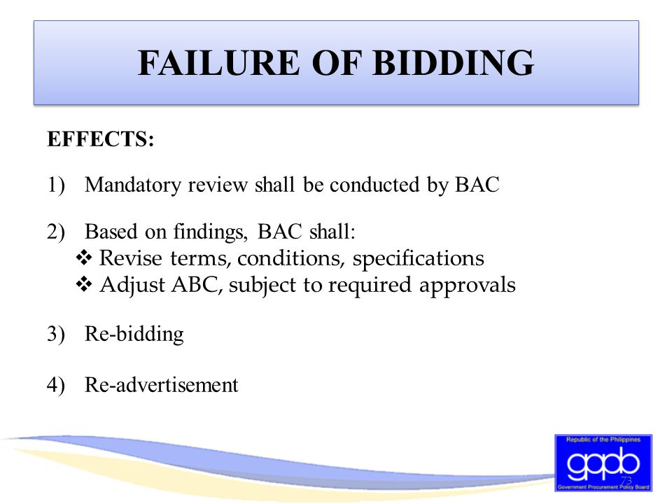 FAILURE OF BIDDING EFFECTS: Mandatory review shall be conducted by BAC