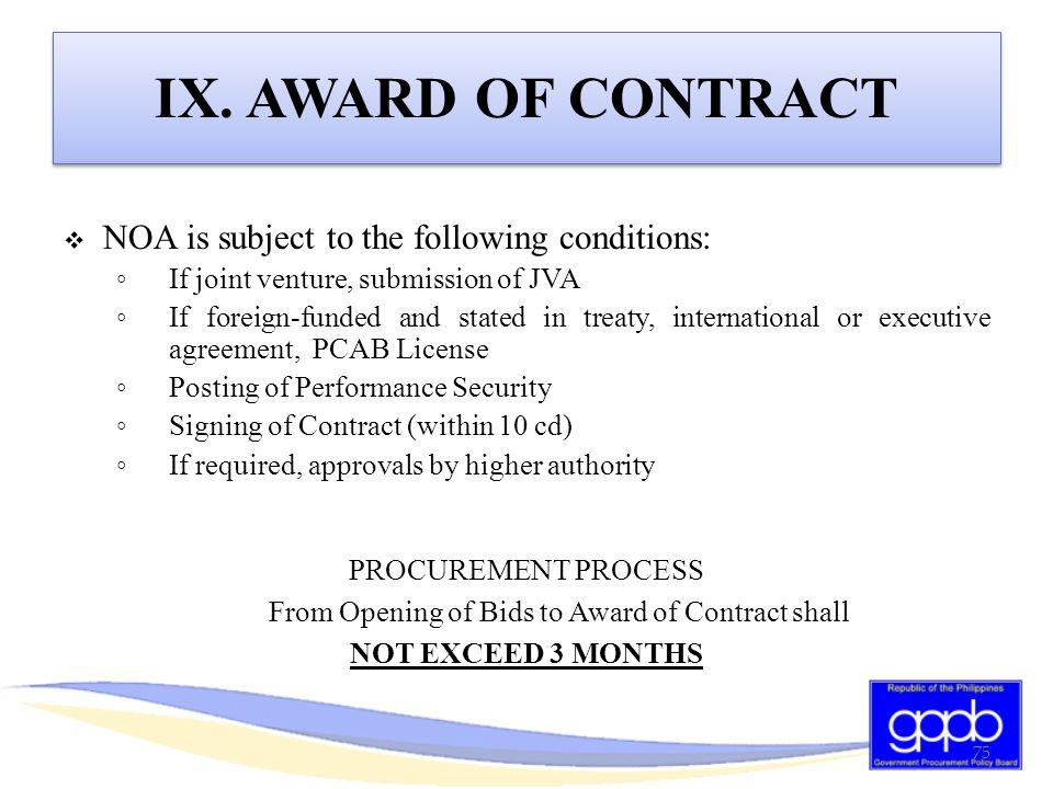 From Opening of Bids to Award of Contract shall