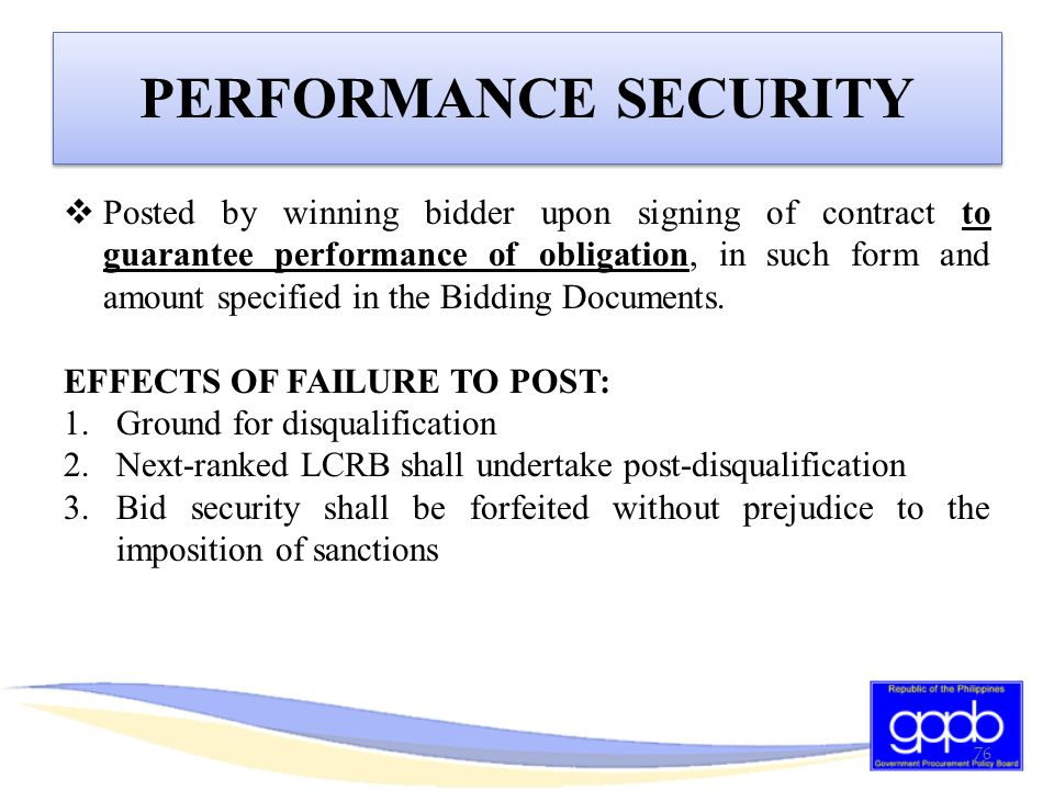 PERFORMANCE SECURITY