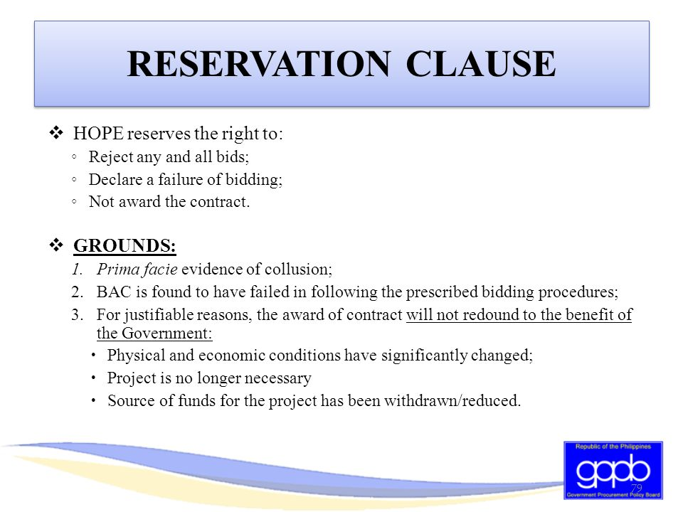 RESERVATION CLAUSE HOPE reserves the right to: GROUNDS: