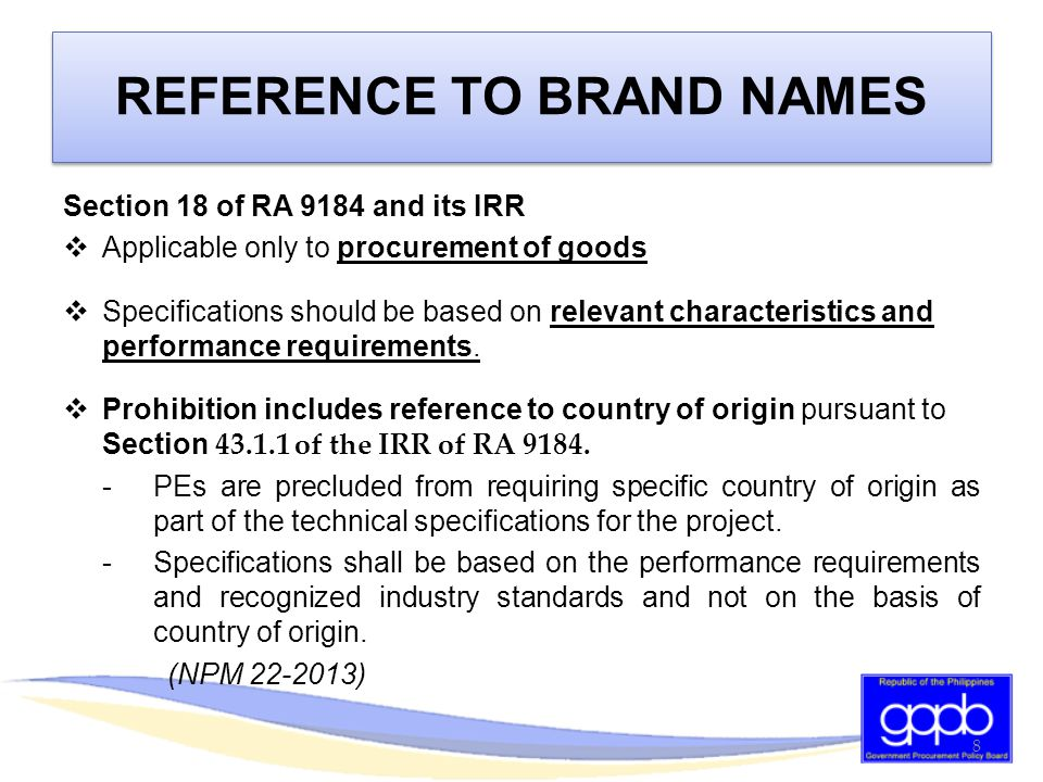 REFERENCE TO BRAND NAMES