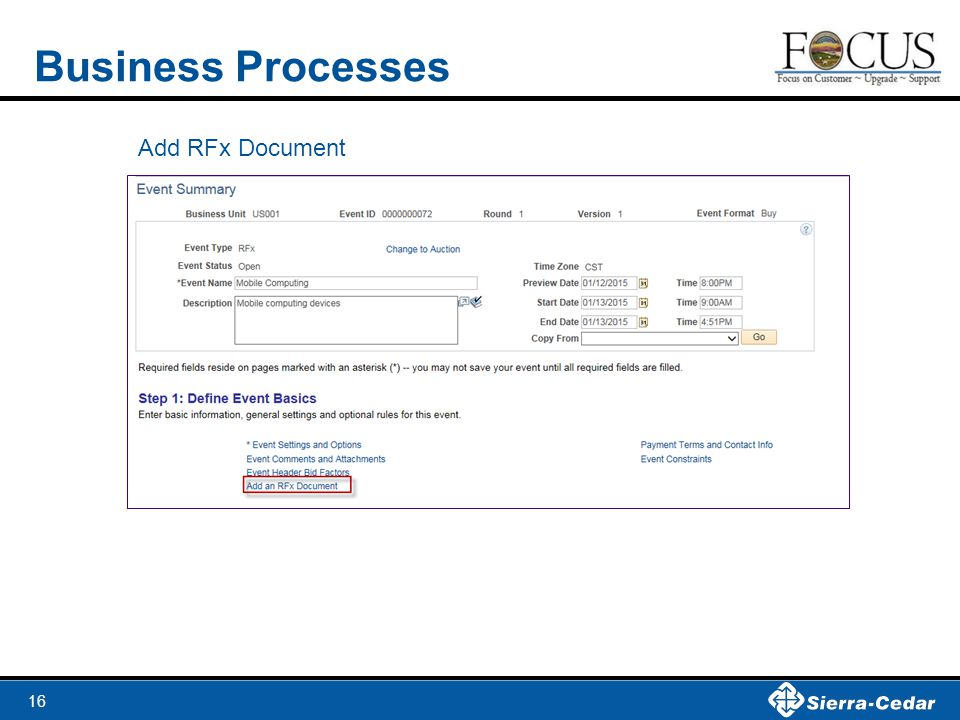 Business Processes Add RFx Document
