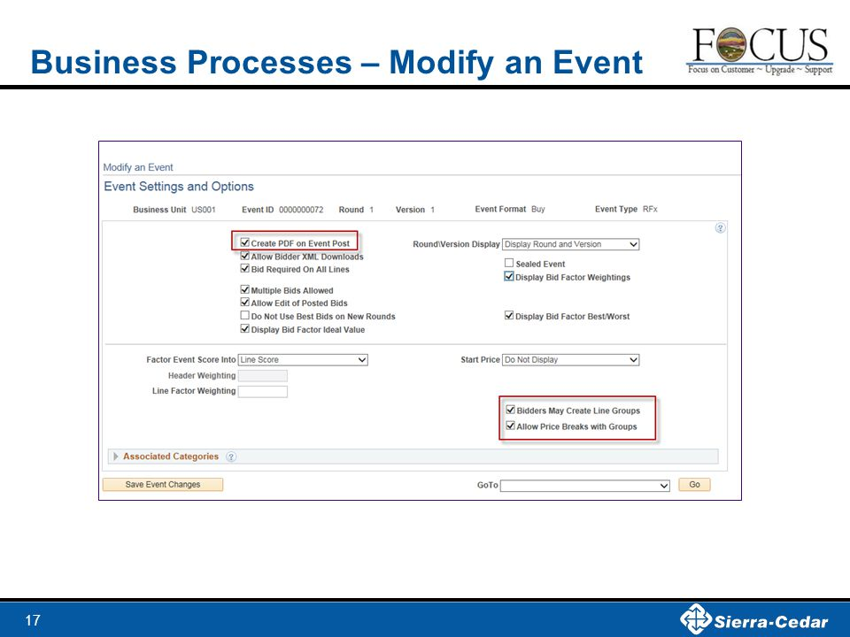 Business Processes – Modify an Event