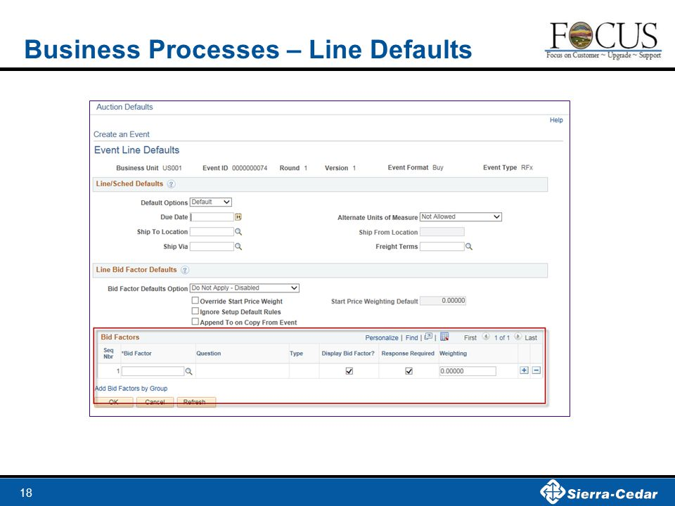 Business Processes – Line Defaults