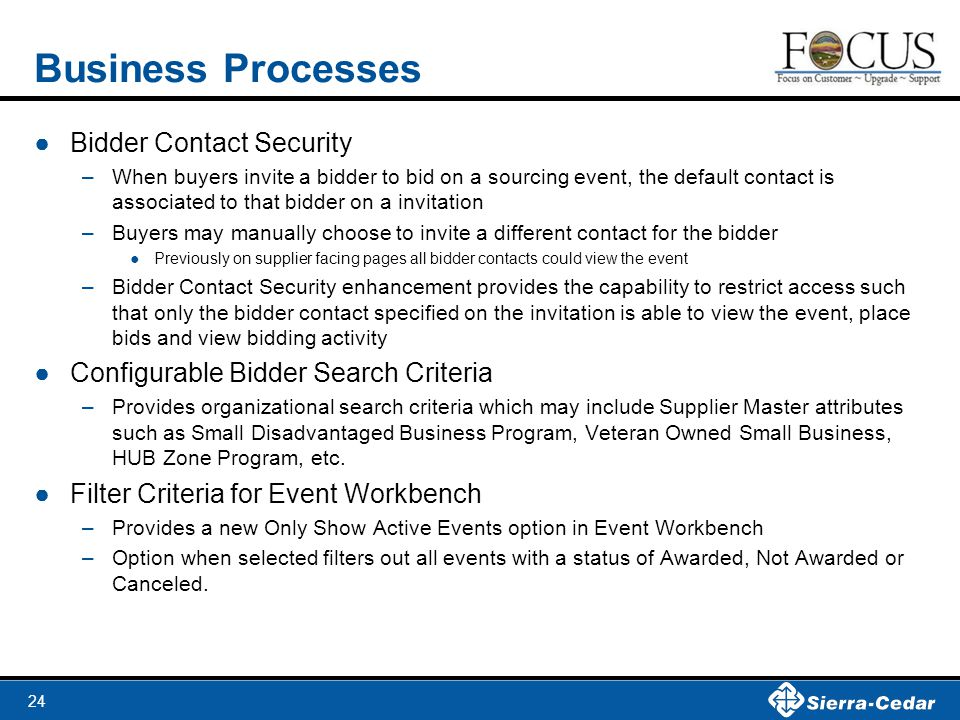 Business Processes Bidder Contact Security