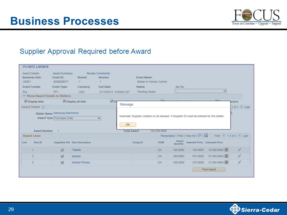 Business Processes Supplier Approval Required before Award