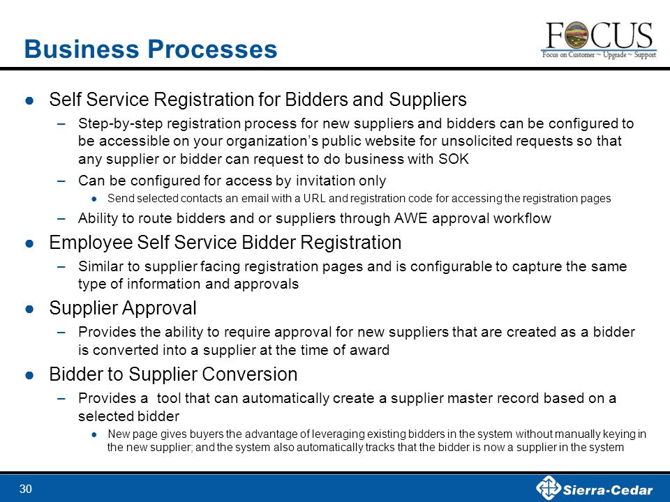 Business Processes Self Service Registration for Bidders and Suppliers