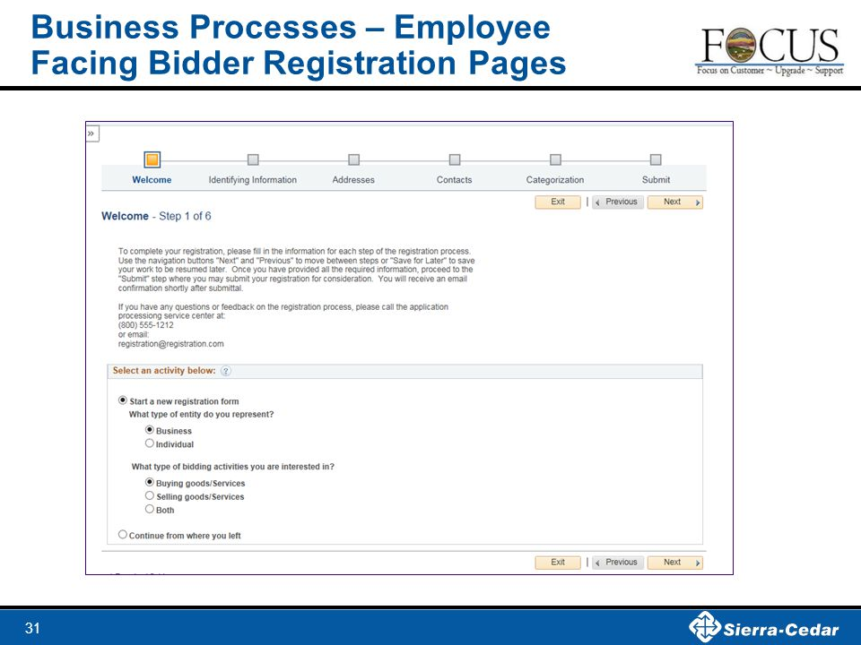 Business Processes – Employee Facing Bidder Registration Pages