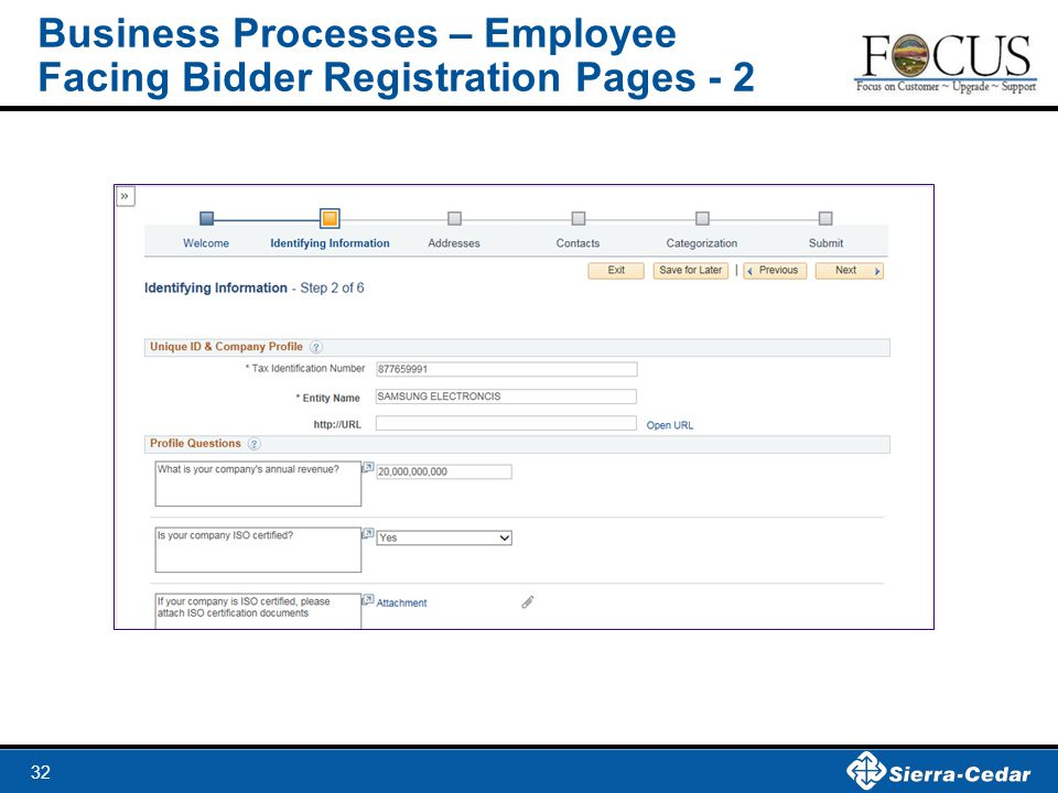 Business Processes – Employee Facing Bidder Registration Pages - 2