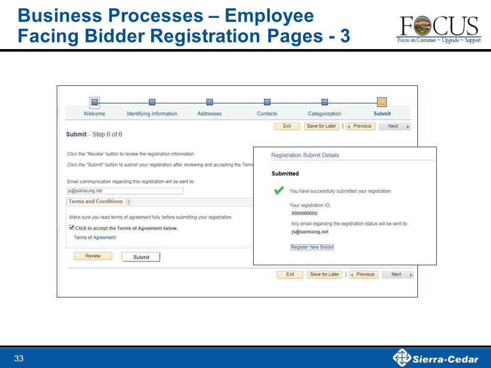 Business Processes – Employee Facing Bidder Registration Pages - 3