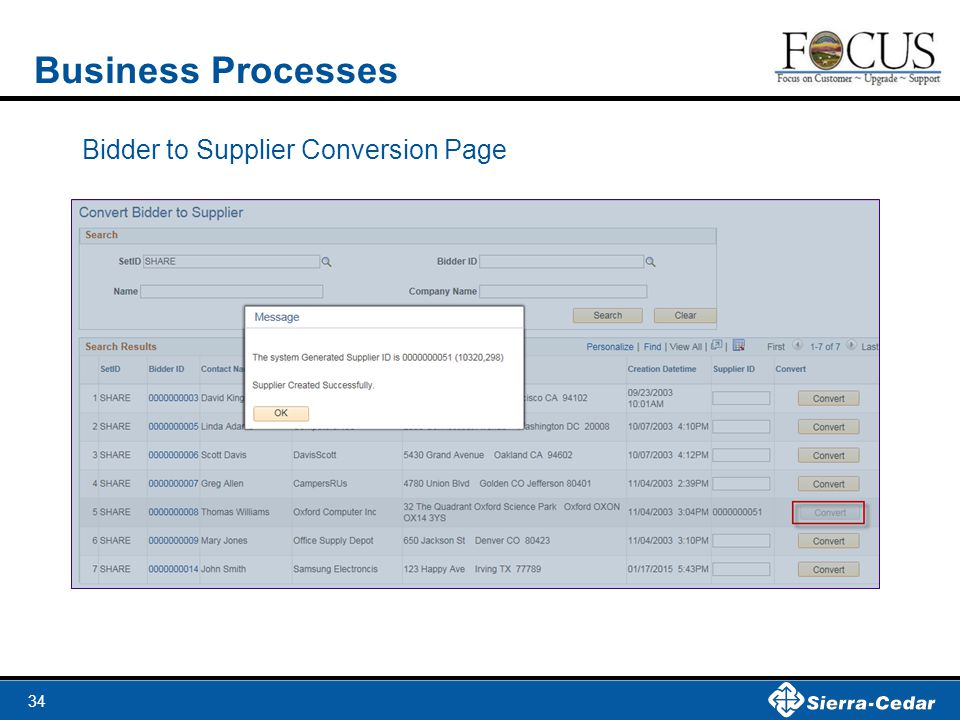 Business Processes Bidder to Supplier Conversion Page