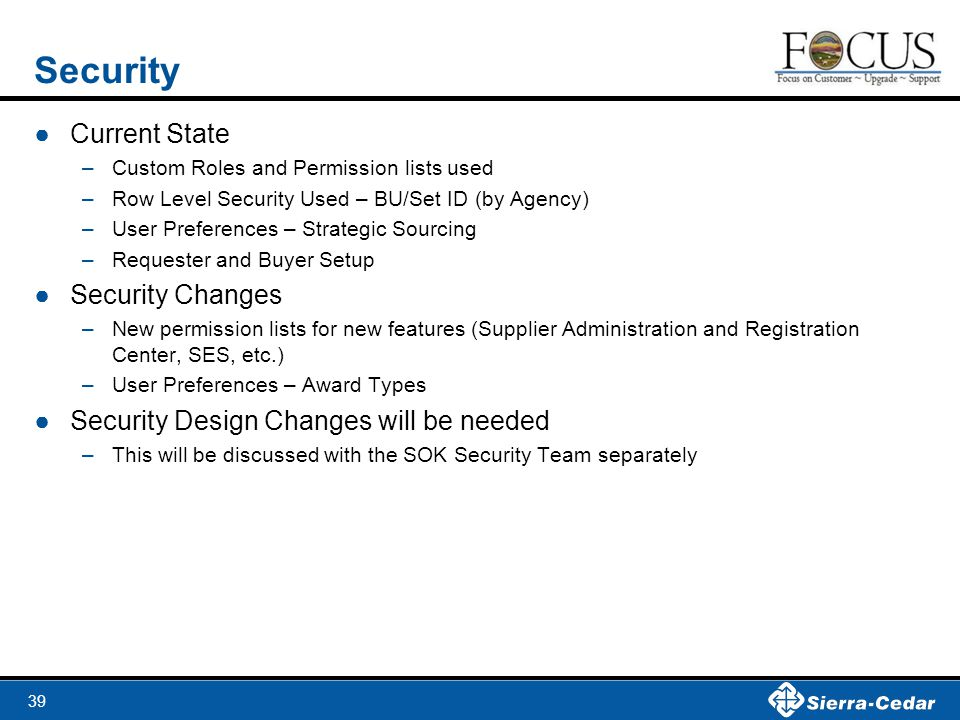Security Current State Security Changes