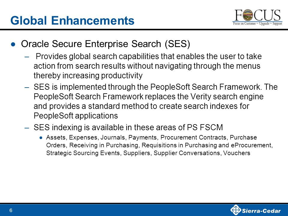Global Enhancements Oracle Secure Enterprise Search (SES)