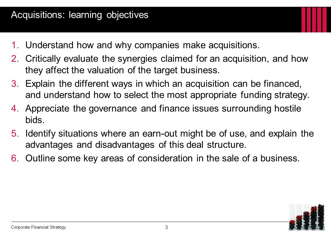 Acquisitions: learning objectives