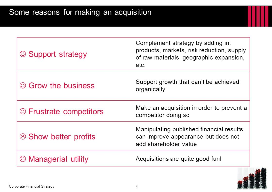Some reasons for making an acquisition