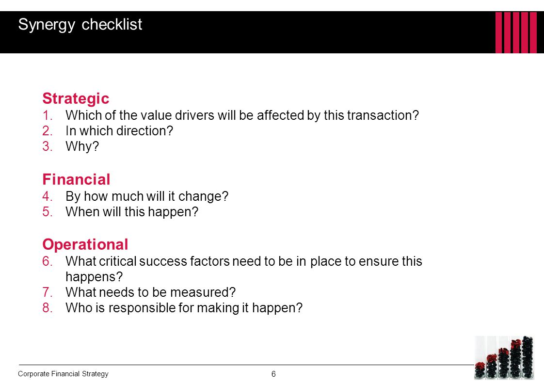 Synergy checklist Strategic Financial Operational