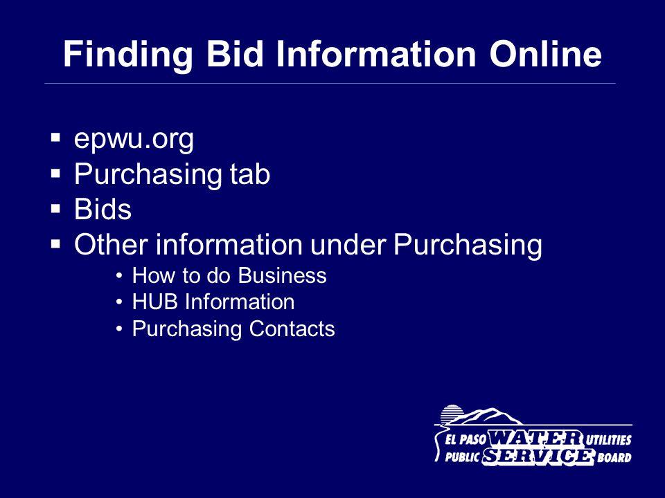 Finding Bid Information Online