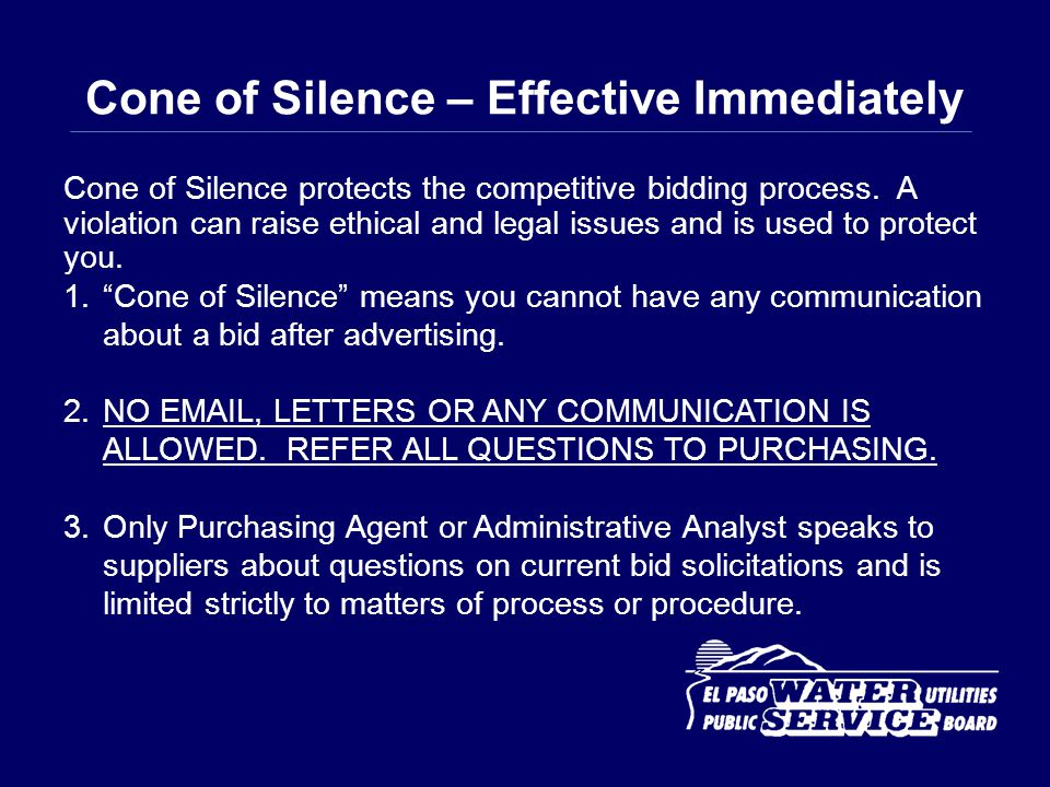 Cone of Silence – Effective Immediately
