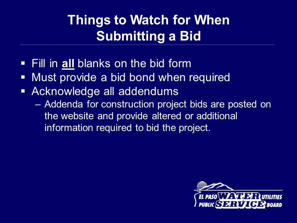 Things to Watch for When Submitting a Bid