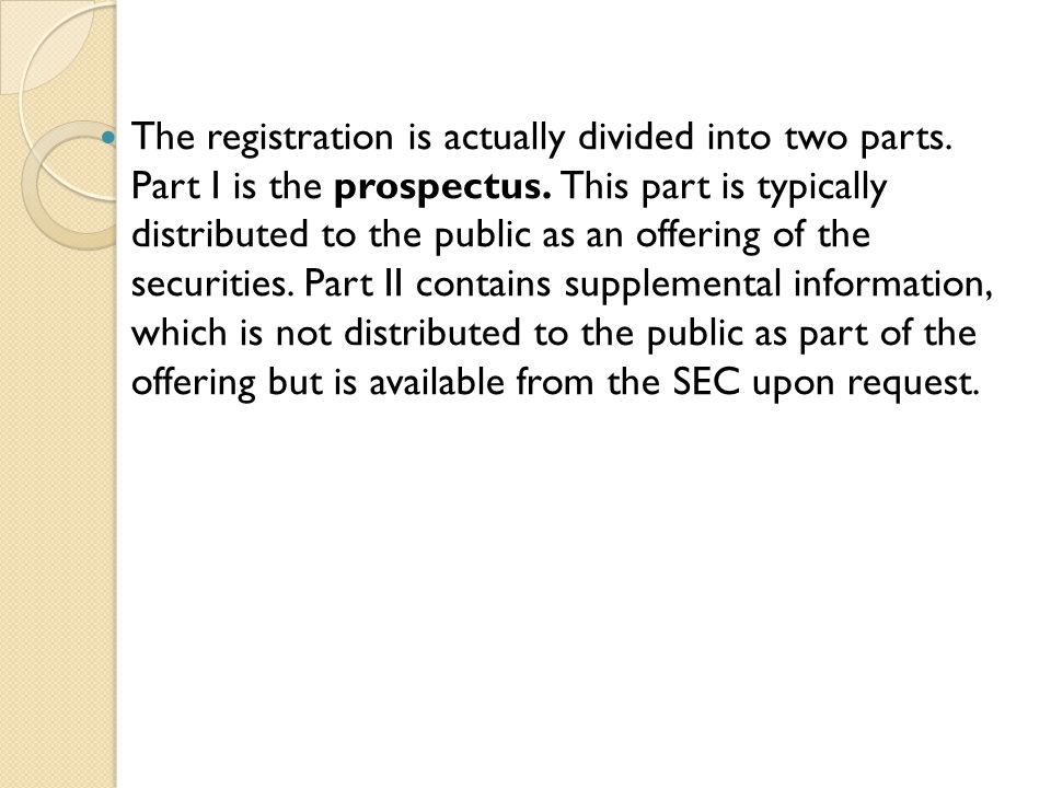 The registration is actually divided into two parts