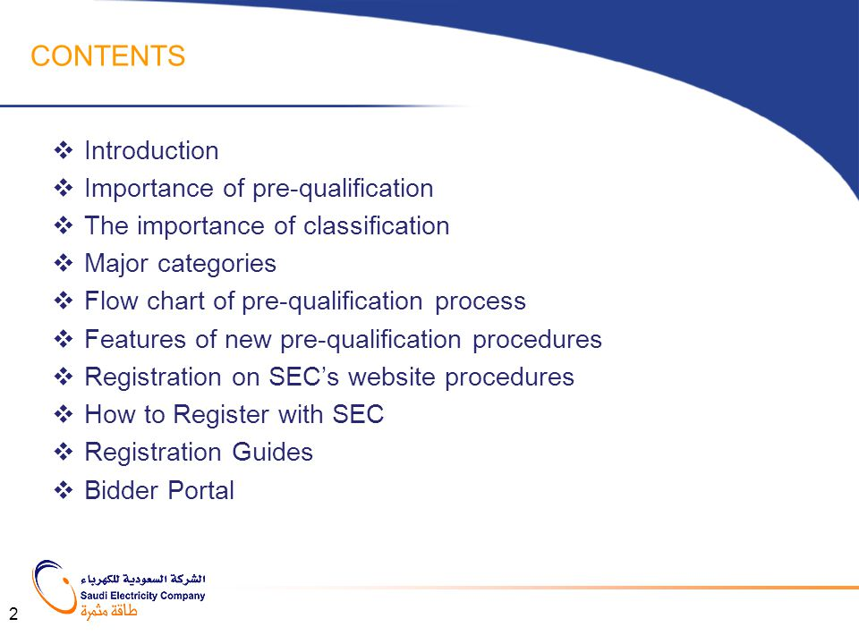 CONTENTS Introduction Importance of pre-qualification